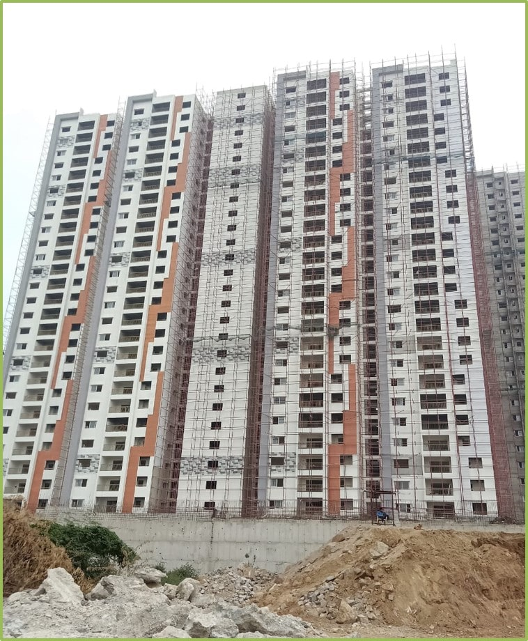 Block 1: Screeding and Putty Work Completed Till 26th Floor