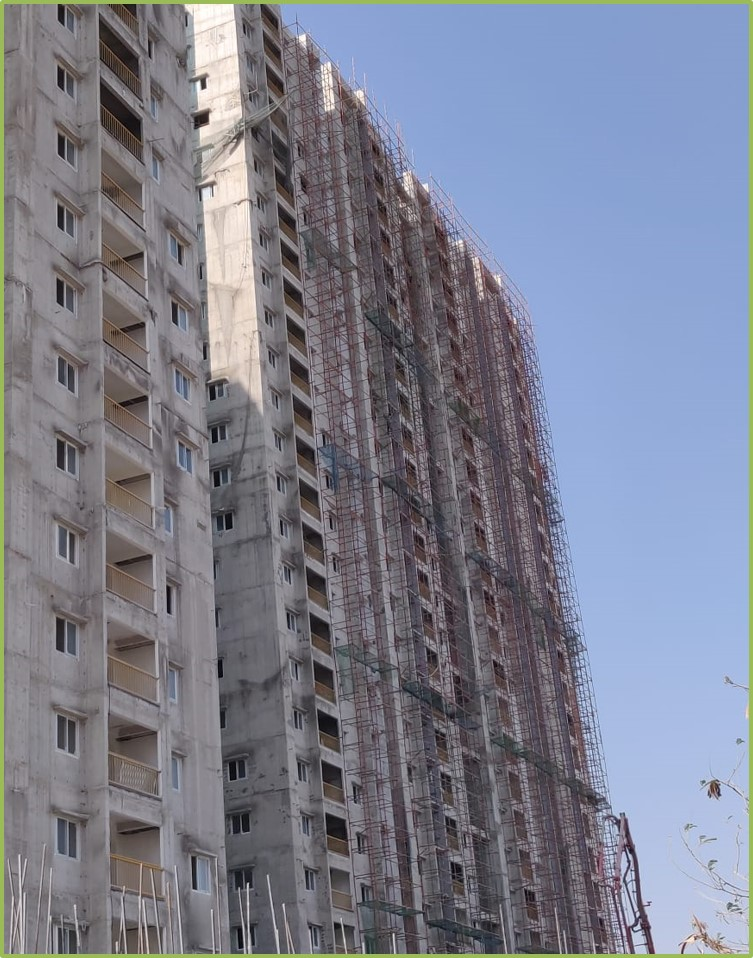 Block 3: Putty and Screeding Work Completed Till 26th Floor
